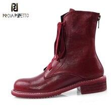 Prova perfetto marca design botas de tornozelo feminino fazer velho vermelho couro genuíno senhoras sapatos cruz cinta de salto baixo mulher plataforma botas