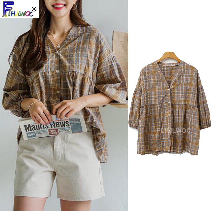 Cute Sweet Tops Hot Women Korean Japanese Style Clothes Button Shirts Blouses Preppy Style Vintage Top Blouse Camisas Mujer 8215