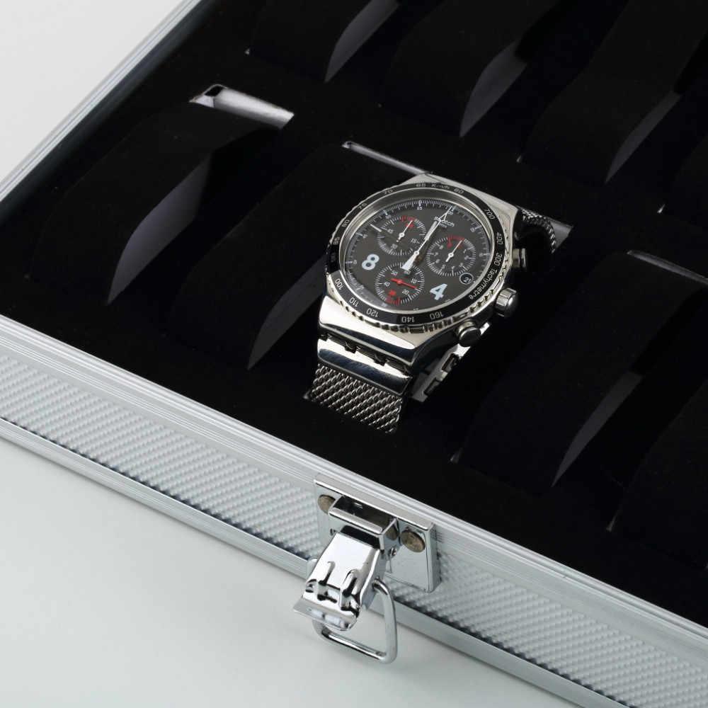 2019 מותג אופנה עסקי יוקרה תיבת שעון גדול קיבולת 12-קצת אחסון תיבת אלומיניום שעון תיבה עם מנעול חדש למעלה תצוגת קופסות