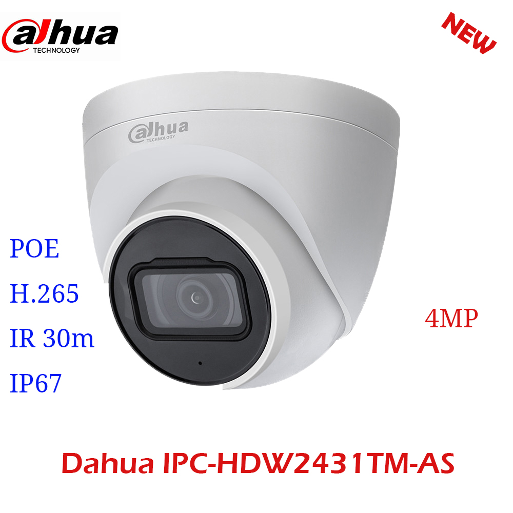 Dahua IPC-HDW2431TM-AS-S2 IP Camera HD 4MP PoE IR30M Micro SD Card Slot H.265 IP67 IK10  AI Survaillance CMOS