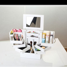 Compact Design Cosmetic Collection Kit Makeup Toolset Mirrow with layers All-in-one Cosmetic Storage Orgnizer Collection Box