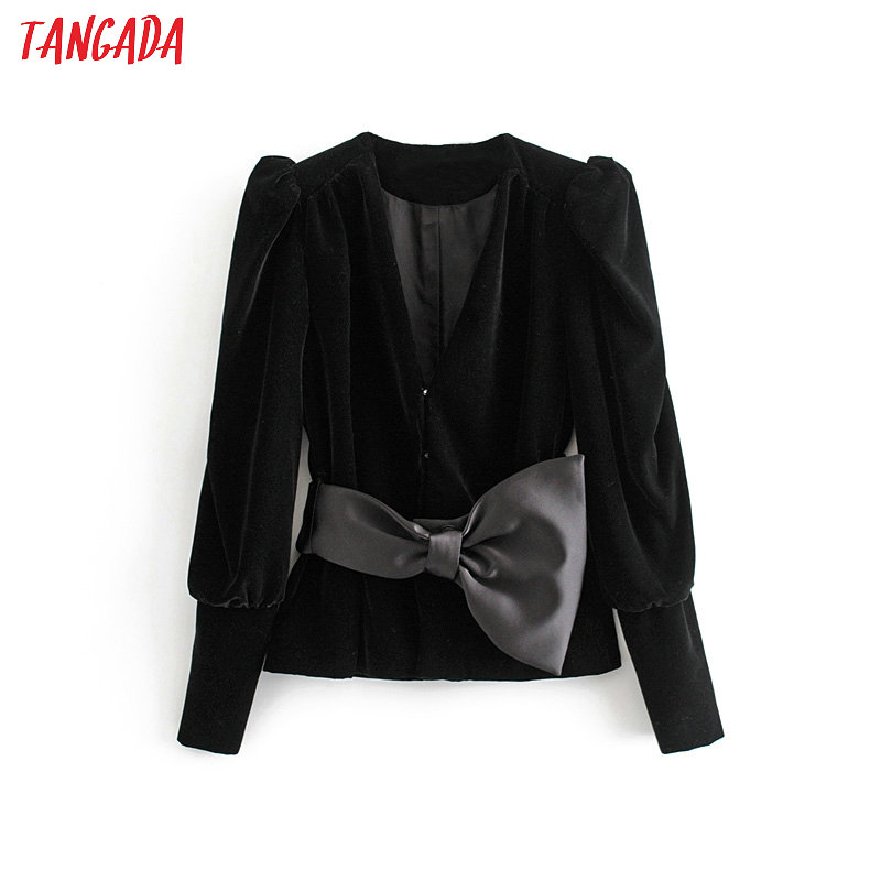 Tangada Women Warm Winter Velvet Suit Jacket Big Bow Long Sleeve Casual Ladies Vintage Blazer Coat 3H218