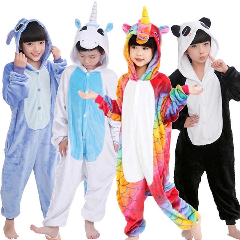 Пижамы для маленьких мальчиков и девочек зимний фланелевый теплый комбинезон-панда с изображением пингвина, одежда для сна Totoro Pajams для детей