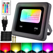 LED Floodlight Outdoor Spotlight 15W Wall Lamp RGB IP65 Waterproof Lighting Garden RGB Flood Light AC 220V 240V Remote Control