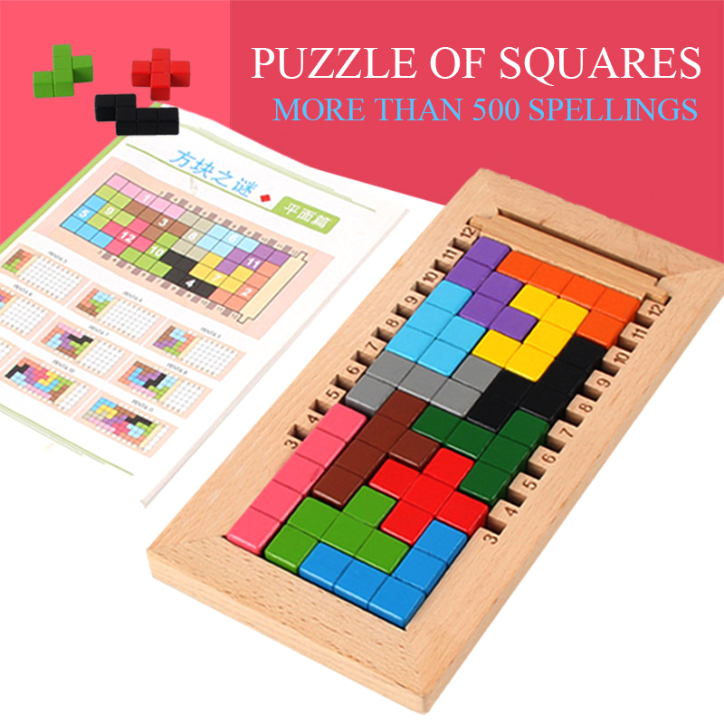 The Mystery Of Tetris Children's Three-dimensional Panel Drawing Intelligent Building Blocks Wooden Toys Gifts For Children