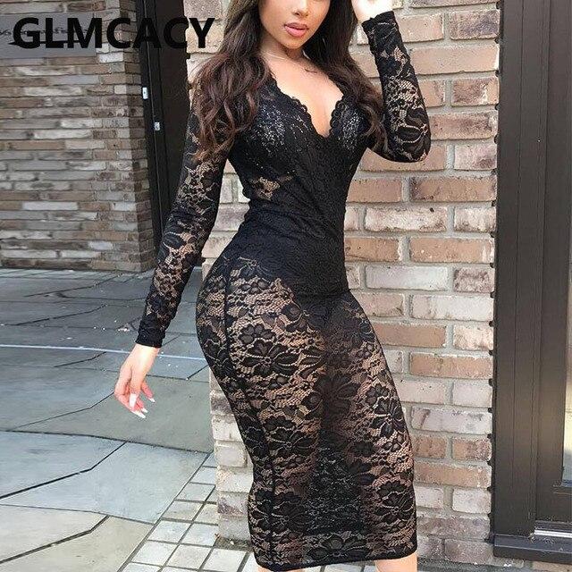 Women Long Sleeve V Neck Lace Dress Sexy Bodycon Club Party Midi Dress