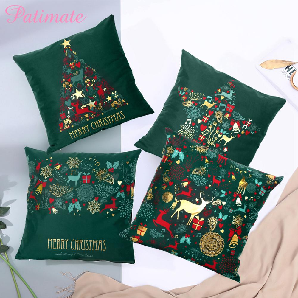 PATIMATE Christmas Green Cotton Cushion Cover Merry Decoration For Home 2019 Xmas Navidad Supplies Happy New Year 2020