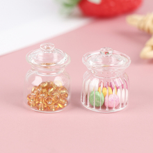 Dollhouse Miniature Ce Food-Toy-Accessories Glass Candy-Jar Cookies Play Pretend Kitchen