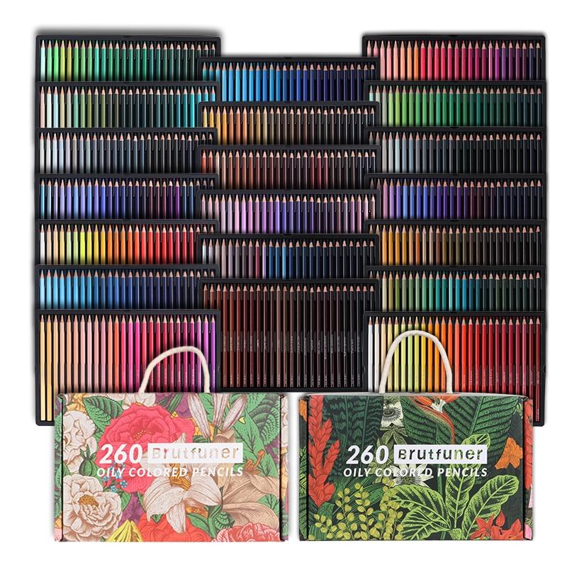 Brutfuner 260/520Colors Exquisite Oily Color Pencils Wooden Colored Pencils Set For School Coloring Coloured Pencil Art Supplies