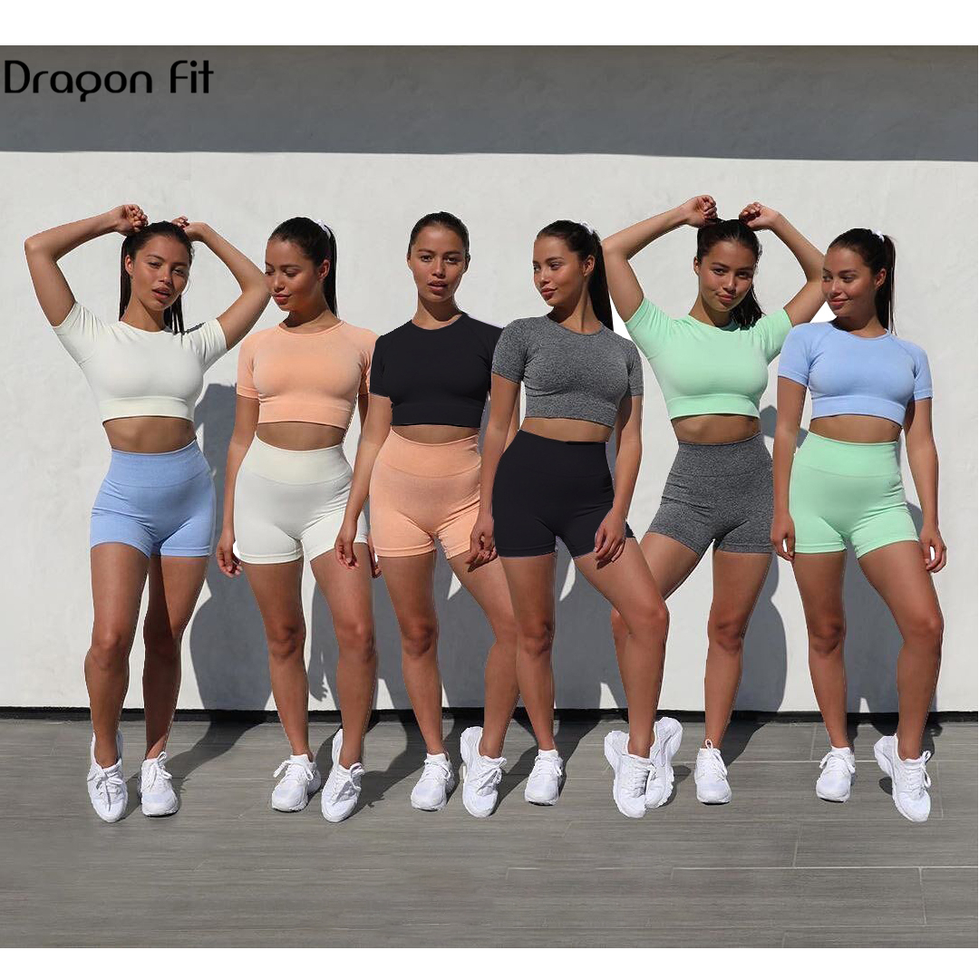 Dragon Fit Workout Clothes For Women Yoga 2 Piece Set Sexy Outfits Crop Top And Fitness Shorts Set Running Active Wear Gym Set