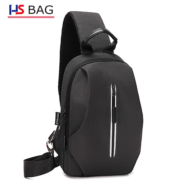 New Style Oxford Cloth Chest Pack Korean-style Men Waterproof Chest Casual Shoulder Bag Cool Night Light Multi-functional Casual