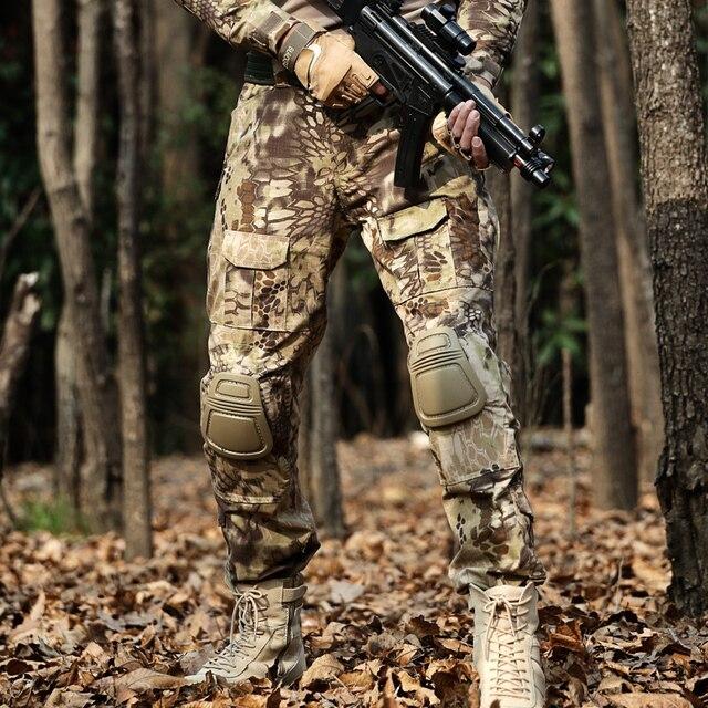 Desert Python Combat Broek Mannen Militaire Kleding Broek Kniebeschermers Tactische Camouflage Jacht Kleding Airsoft Multicam Broek