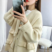 Solid Long Knitwear Sweater 2019 Women Fashion Autumn Winter Sweet Red Ruffles Single Breasted Loose Cardigans Jumpers Oversize