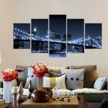 Canvas Wall Art Picture HD Print Poster 5 Piece Brooklyn Bridge City Night Scene Painting Home Decor Landcape