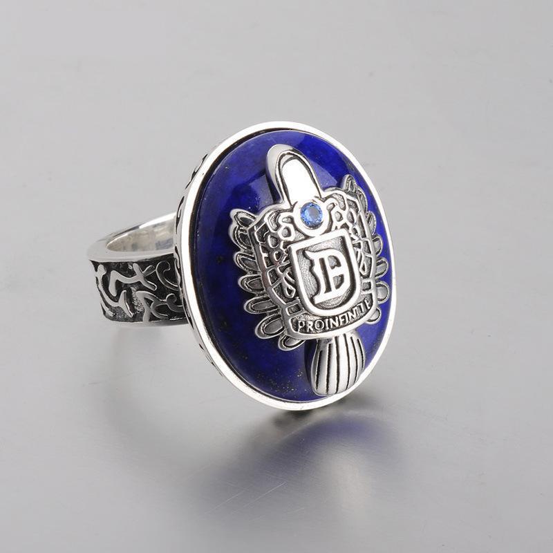 Le Vampire Diaries anneaux réel 925 argent Sterling Damon Salvatore bague hommes avec Lapis Lazuli gemme pierre naturelle bijoux fins - 3