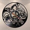 Виниловые настенные часы для мотоциклов  декоративные часы для мотоциклов  мотоциклистов  гонщиков  подарок для домашнего искусства  совре...