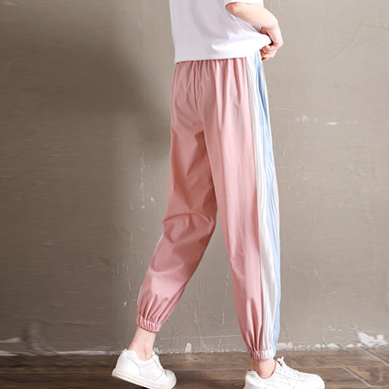 Sports Casual Wide Leg Pants Harem Pants Side Striped Stitching Design Women's Sweatpants