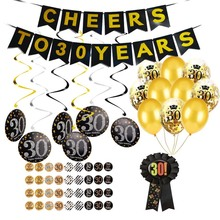 30th 40th 50th 60th Adults Birthday Decorations Sticker Labels Adult Gold Black birthday 30 40 50 60 Year