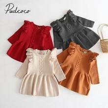 Коллекция года, осенне-зимняя одежда для малышей теплое платье в рубчик для маленьких девочек вязаные платья с длинными рукавами и оборками Вечерние платья принцессы