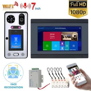 Mountainone 7 cal Wifi bezprzewodowe rozpoznawanie twarzy linii papilarnych IC wideodomofon domofon wsparcie telefon komórkowy odblokować tanie i dobre opinie Przewodowy Głośnomówiący CMOS color 205(L)*138(W)*18(H)MM 15V 1 2A SY709BGLB11 Jeden do jednego wideo domofon Do Montażu na ścianie