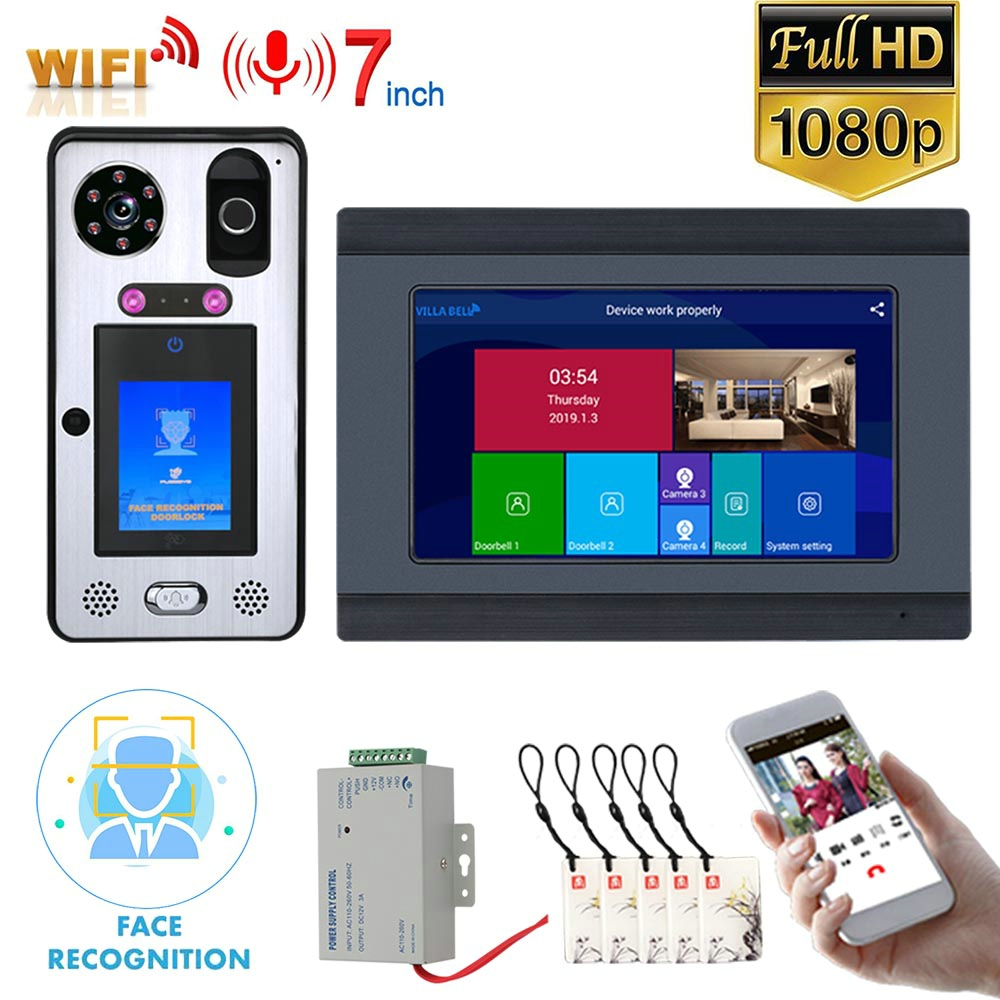 Mountainone 7 inch Wifi Wireless Face Recognition Fingerprint IC Video Doorbell Intercom System Support Mobile phone Unlock
