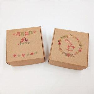 Image 5 - 50pcs 6.5x6.5x3cm Piccolo Kraft regalo di carta scatola di imballaggio, cartone kraft sapone fatto a mano contenitore di caramella, personalizzato mestiere contenitore di regalo di carta