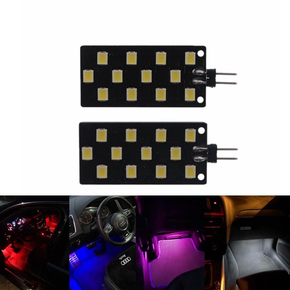 2 шт. 12 В Canbus автомобильные лампы без ошибок для внутреннего освещения Footwell лампы для ножного гнезда дверная лампа 2835-12SMD светодиодная для Audi ...