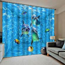 Luxury Blackout 3D Window Curtains For Living Room Bedroom blue oecean dolphin curtains underwater Blackout curtain(China)