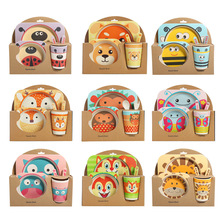 5pcs/set Baby Dish Tableware Children Cartoon Feeding Dishes Kids Natural Bamboo Fiber Dinnerware With Bowl Fork Cup Spoon Plate baby dishes bowl cup plates sets bamboo fiber children fractional dinnerware set kids tableware fork feeding set food container