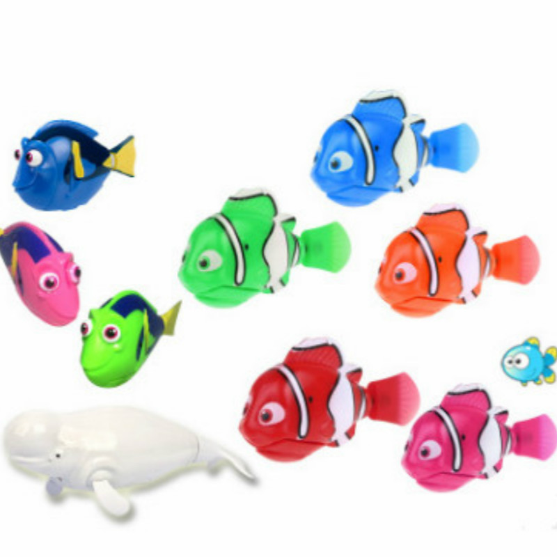 10 Pcs / Lot Include 2 White Dolphin Swimming Electronic Pet Fish Toys Children Battery Powered Swim Robotic Fish
