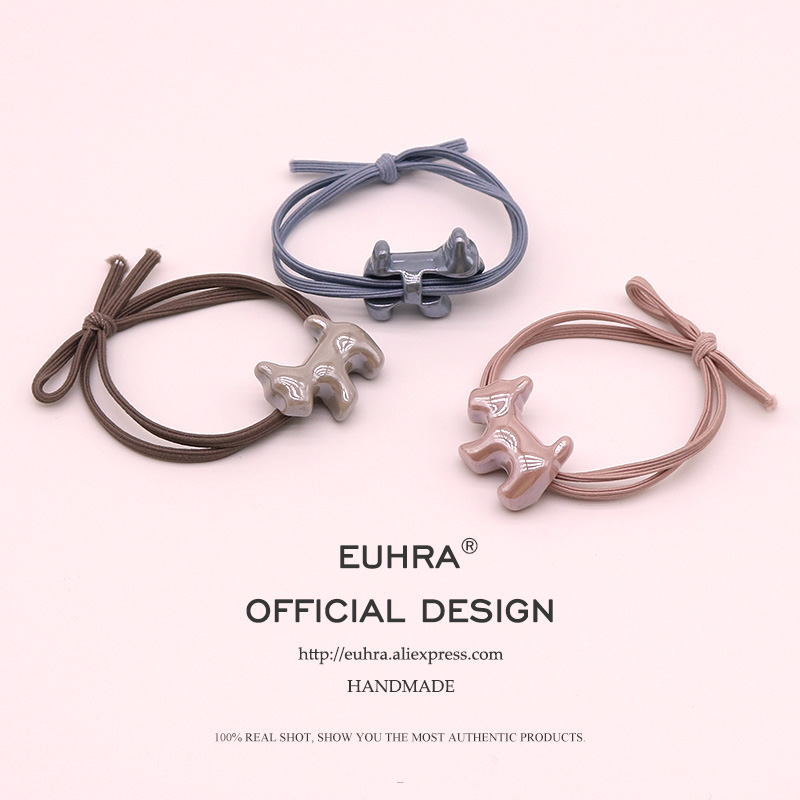 EUHRA 5 Colors Elastic Puppy Dog Schnauzer Gum For Women Hair Band Kid Children Rubber Band High Elasticity
