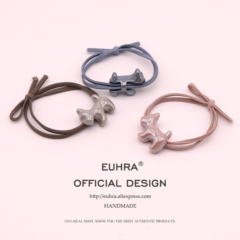 EUHRA 5 Colors Elastic Puppy Dog Schnauzer Gum For Women Hair Band Kid Children Rubber Band High Elasticity