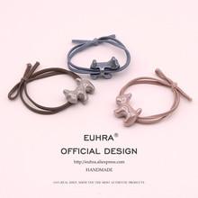 EUHRA 5 Colors Elastic Puppy Dog Schnauzer Gum For Women Hair Band Kid Children Rubber High Elasticity