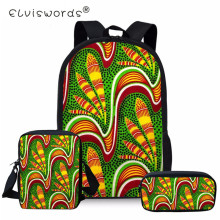ELVISWORDS African Traditional Backpack For Girls 3PC/Set Schoolbag Kids Orthopedic Backpacks Shoulder Bag Satchel Mochila