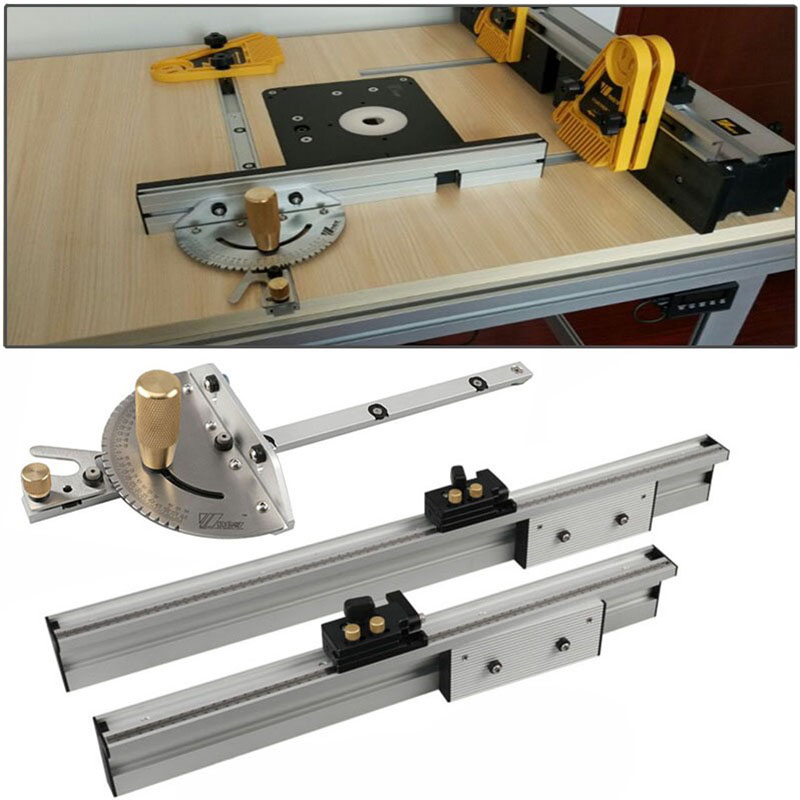Woodworking Miter Gauge And Box Joint Jig Kit T-track Slot With Adjustable Flip Stop For Router Table Bandsaws