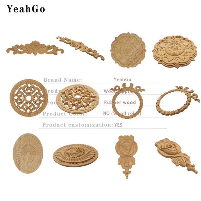 YeahGo European-style solid wood flower wood carving Round applique Furniture Home Wall decorative decal accessories Part-one 4