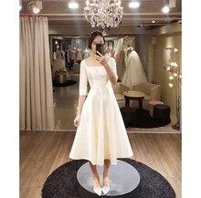 Tea-length A-Line Wedding Dresses 2019 White Ivory Square Collar Neek Bridal Gowns Korea Half Sleeves Simple vestidos de noiva
