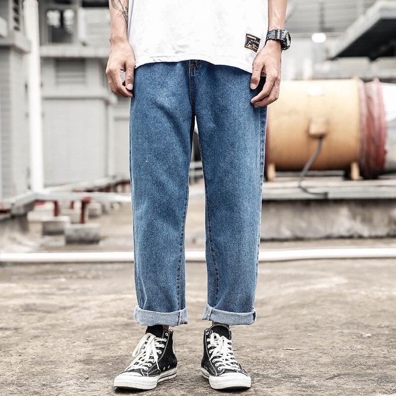 Japanese-style Retro Washing Straight-Cut Jeans Men's Popular Brand Loose-Fit Pendant Sense Wide-Leg Capri INS Hong Kong Style D
