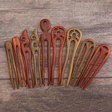 Stick Headwear Hairpins Jewelry Hair-Accessories Wooden U-Shaped FORSEVEN JL Women Vintage