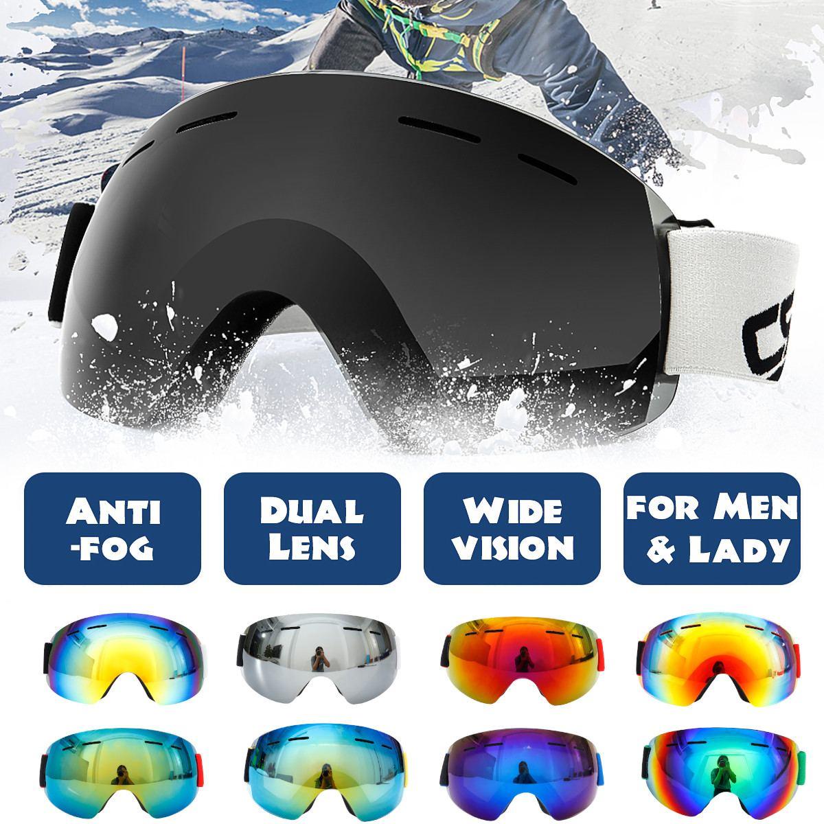 Ski Snowboard Goggles Unisex Anti Fog UV Double Lens Skiing Goggle Big Ski Mask Glasses Two Layers Lens Eyewear For Men Women