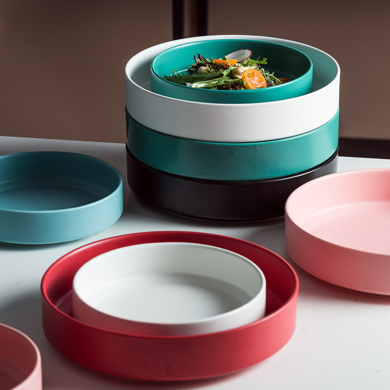 Ceramic Dinner Plate Kitchen Dessert Dish Steak Plate Dinnerware Porcelain Breakfast Tray Fruit Tableware Dishes Cake Plates
