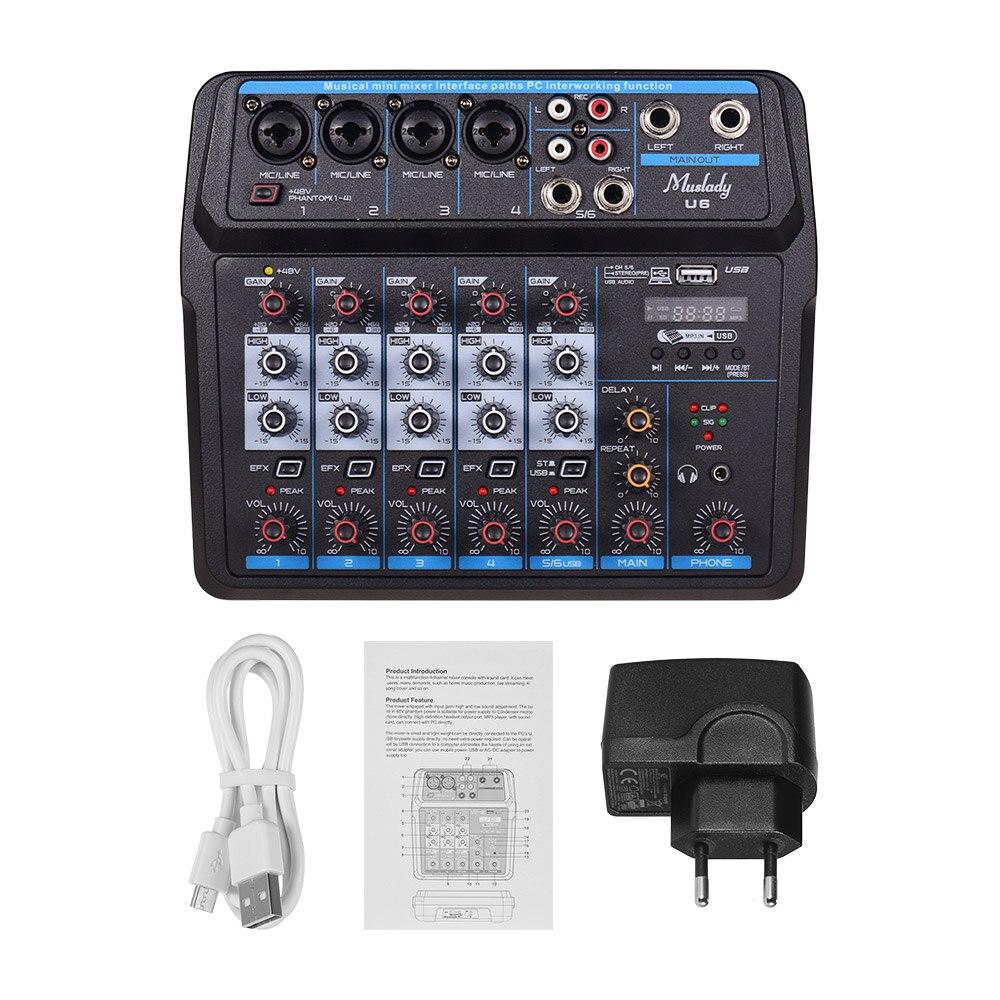 U4/U6 Musical Mini Mixer 6 Kanäle Audio Mischer BT USB Mischpult mit Soundkarte Integrierte 48V phantom Power EU/Us-stecker