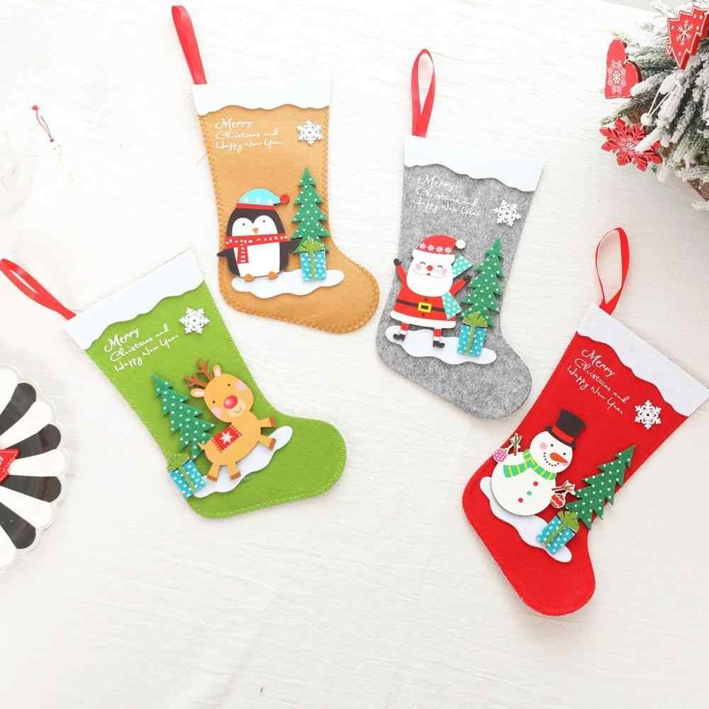 12 יח'\חבילה חג המולד מתנת גרבי סוכריות תיק גרב עם תליית חבל חג המולד עץ קישוט בית המפלגה ארוחת ערב דקור סנטה איל