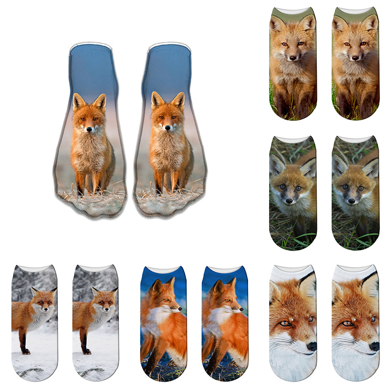 Fox Socks Cute Animal Men Socks Summer Harajuku Short Ankle Socks Cotton Lovely Funny Sock Happy Sox Calcetines Divertidos