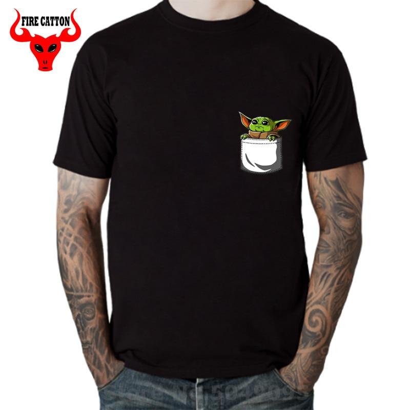 Cutie Pocket Baby Yoda T Shirts Men Star Master Yoda T-shirt Jedi Wars Tshirt Boys Hot Sale Cotton Tee Shirt New Fashion Vestido