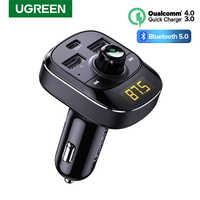 Transmisor FM UGREEN, Bluetooth, manos libres, modulador FM, cargador de coche PD, carga rápida 4,0 3,0, Cargador USB tipo C rápido para iPhone 11