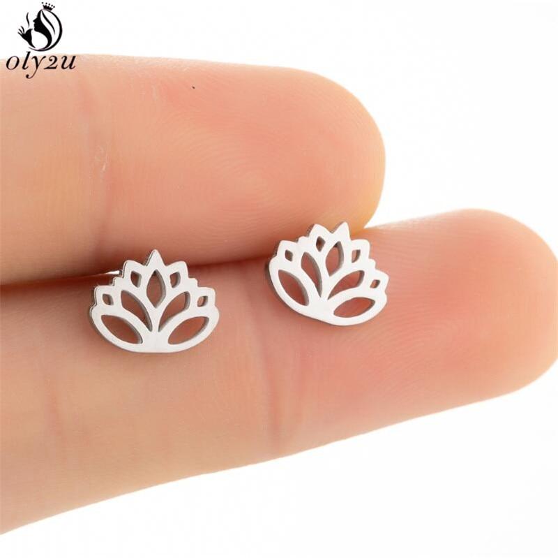Bohemia Small Lotus Flower Earrings for Women Girls Black Stainless Steel Plant Flower of Life Stud Earring Jewelry pendientes