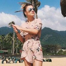 Summer Rompers Women Bohemia Beach Chiffon Ruffle Casual Short Jumpsuit Sexy Floral Bodysuit Mono Corto Mujer Streetwear Roupas