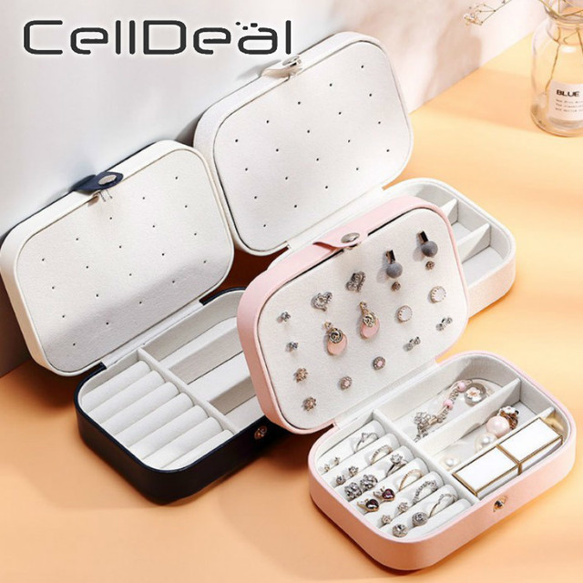 CellDeal Jewelry Box Travel Comestic Jewelry Casket PU Leather Storage Box Ring Lady Case Portable Jewelry Organizer Necklaces 1
