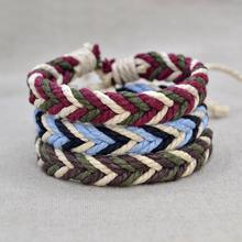 1pc Brazil Braided String Rope Bracelets Handmade Weave Vintage Cotton Wrap Ethnic Charm Boho Bangle For Men Women